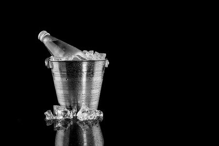Natural Mineral Water In Ice Bucket Stock Photo