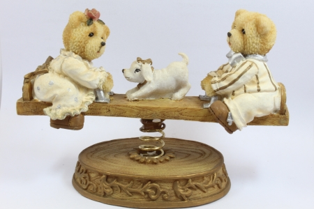 little bears play seesaw Stock Photo - 20396132