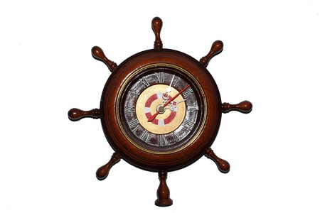 Ship wheel clock wood brown  Stock Photo - 20458924
