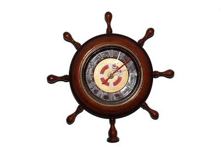 Ship wheel clock wood brown Stock Photo - 20458924