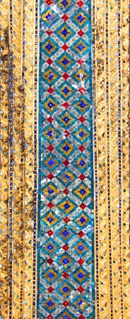 Thai art wall pattern  in Wat phra kaew, Grand palace, Bangkok, Thailand