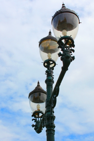 Pole lamps and blue sky