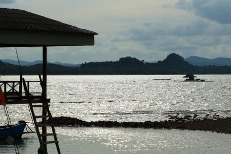 fishingboats: Evening sea  at  Pitak island, Chumporn Thailand