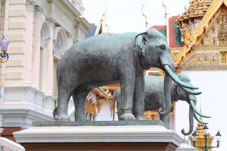 Elephants statue at The Royal Grand Palace  Wat Phra Kaew  in Bangkok, Thailand