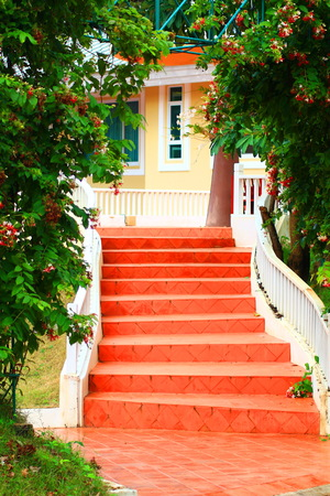 ratchaburi: Beautiful Orange Ladder at the Resort