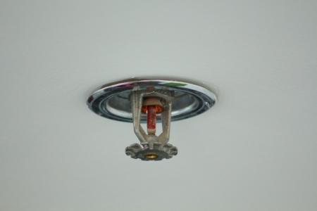 The fire detector with water sprinkler Stock Photo