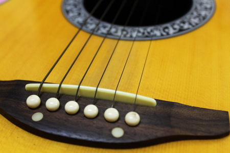 Guitar strings close up Stock Photo