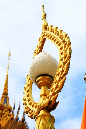 Light pole lotus in thai temple with blue sky