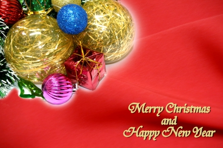 wish: Christmas Tree Decoration Picture on Red Christmas Card Stock Photo