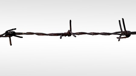 obstruct: The barbed wire , Close-up Stock Photo