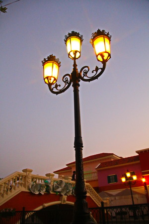 Street Lighting poles in twilight , Thailand