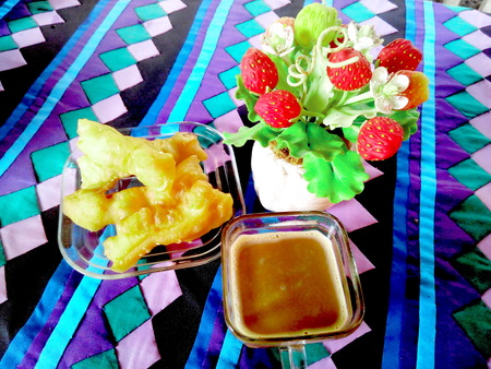 Appetizer  above colorful  table linen on table photo