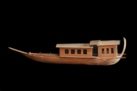 antiquated: Model  Thai  Antique  Ship on  black  background , Isolated Stock Photo