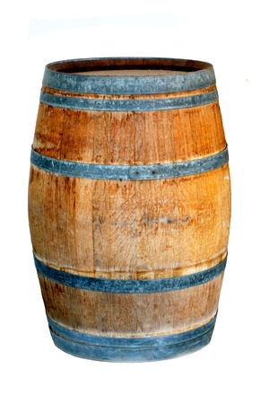 Wooden casks on white background ,Isolated Stock Photo