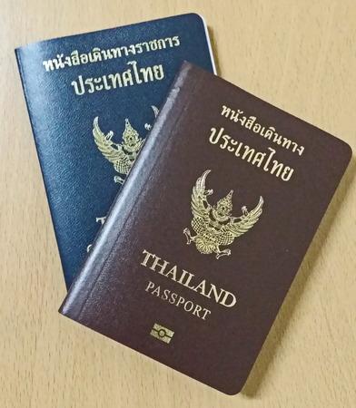 Thailand Passport on wooden table photo