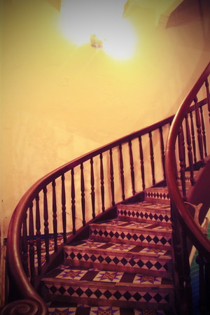 banister: Classic wood banister  with dimlight