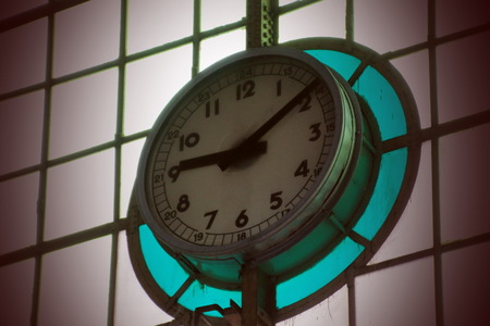 the archaic: Archaic  clock  on  stained  glass