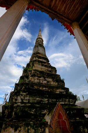 an obeisance: Ancient of pagoda in thai temple