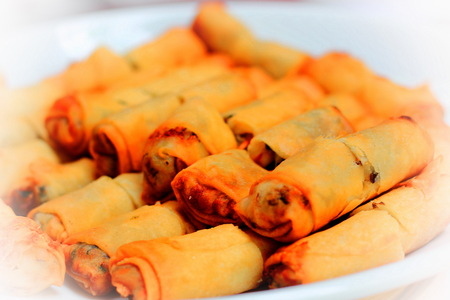 Spring rolls  in white dish on blur background Stock Photo