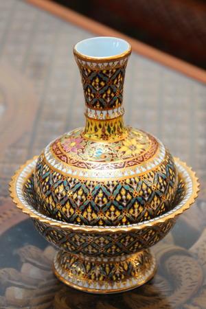 Set of pour water ceremonial Benjarong