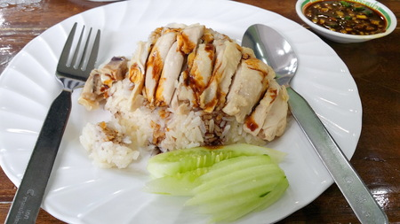 Steamed chicken with rice in white dish Stock Photo