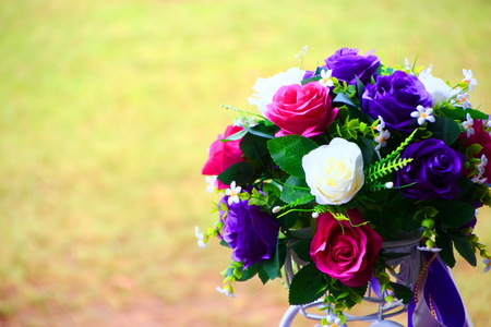Colorful bouquet  in front of blur background Stock Photo
