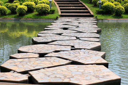 Walkway made of artificial stone