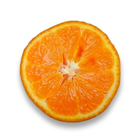 Piece orange slices on a white background , Isolated Stock Photo