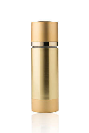 gold color: Gold color cosmetic bottle.