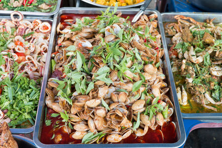 Oriental food - Thai takeaway at a Chiang mai gate market. photo
