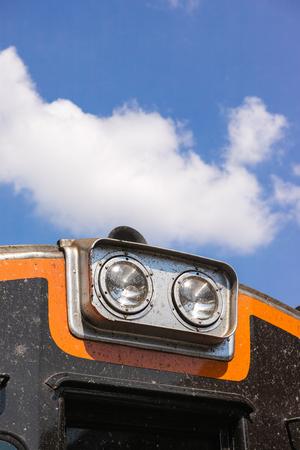 Headlamp of railway on sky background Zdjęcie Seryjne