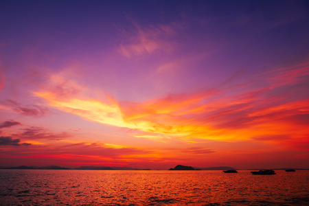 gradient of Altostratus cloud and sea in sunset sky background for art decoration wallpaper