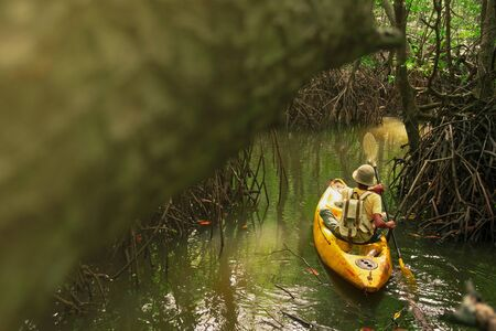 a young man Adventure with backpack Kayaking into the Tunnel of Bushes through a Mangrove Forest