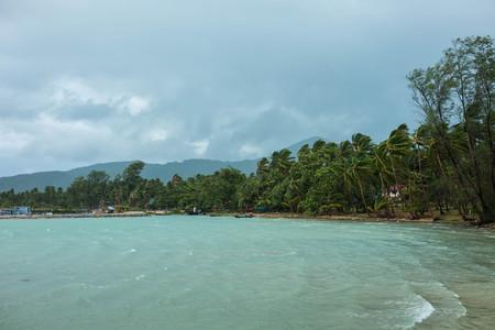 strom: Windy beach before rain strom on tropical island
