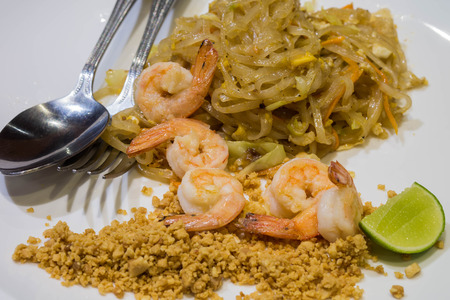 padthai: Padthai or Thai style fried noodles with shrimps