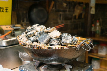 doufu: Chinese Tofu is popula street food in Hunan, China