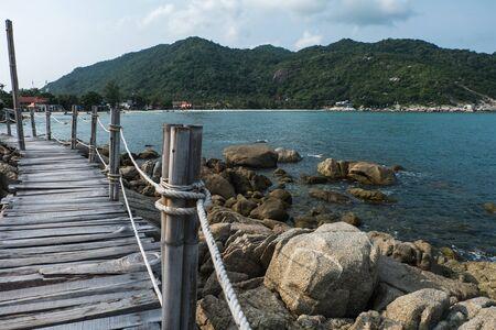 rin: Wooden Boardwalk at Haad Rin, Koh Pha Ngan, Thailand