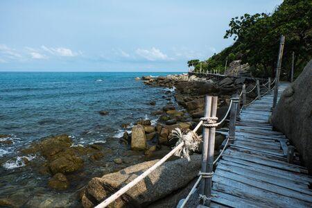 phangan: Wooden Boardwalk at Haad Rin, Koh Pha Ngan, Thailand