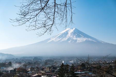 chureito: Fuji mountain view from Chureito Pagoda in autumn. Stock Photo