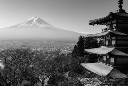 chureito: Black and white picture of Chureito pagoda and Mountain Fuji in autumn