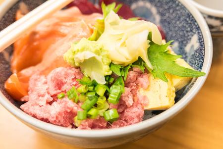 ova: Japanese food- Salmon and negitoro tuna, sashimi raw fish seafood rice bowl, sashimi on rice, donburi