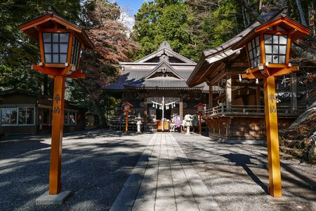 sengen: KAWAGUCHIKO, JAPAN - DECEMBER 2, 2015: Arakura Sengen Shrine, It was built as a peace memorial in 1963 nearly 400 steps up the mountain from the shrines main buildings