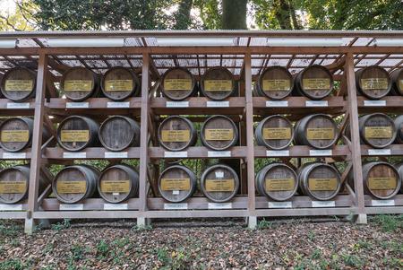 sacrificio: Tokio, Japón - 30 noviembre 2015: Esta imagen muestra barriles de sake cerca del santuario de Meiji en Tokio. Los barriles de sake se dan a la capilla como un sacrificio.