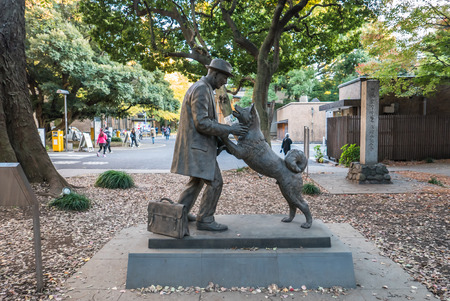 faculty: Tokyo - Dec 4, 2015 - The statue of Hachiko and his owner is built and located at the faculty of Agriculture at Todai university where his owner worked as professor during being alive