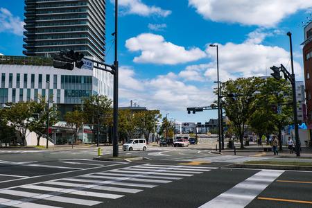 trafic stop: KUMAMOTO, JAPAN - SEPTEMBER 27, 2014 : Beautiful scenery of Kumamoto city on November 19, 2015. Kumamoto is the capital city of Kumamoto Prefecture on the island of Kyushu, Japan.