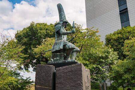 low angles: Statue of Kato Kiyomasa near Kumamoto castle in Kumamoto, Japan Editorial