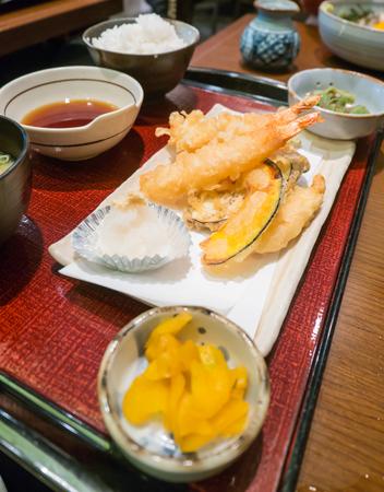 side salad: Japanese Cuisine - Set of Tempura Shrimps (Deep Fried Shrimps) with sauce and side salad