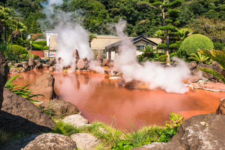 hydrothermal: Chinoike Jigoku or Blood pond hell in Beppu, Oita, Japan. Chinoike Jigoku features a pond of hot, red water and a large souvenir shop. It is one of the more photogenic of the eight hells.