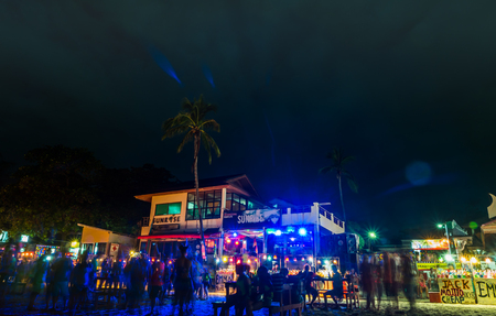 rin: Koh Phangan, Thailand - October 8, 2014: The Full moon party at Haad Rin, Koh Phangan, Thailand. The Full Moon Party is an all-night beach party that originated in Haad Rin on the island of Ko Pha Ngan, Thailand on the night of, before or after every full Editorial