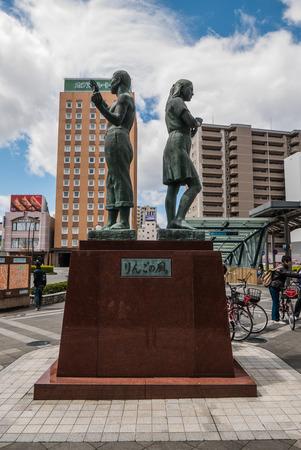 jointly: Aomori, Japan - April 30, 2016: Statue at Hirosaki Station, Hirosaki Station is a railway station in the city of Hirosaki, Aomori Prefecture, Japan, jointly operated by East Japan Railway Company (JR East) and the private railway operator Kōnan Railway. Editorial